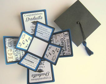 Graduation Card Exploding Box Class of 2017 Blue and Black Ready to Ship