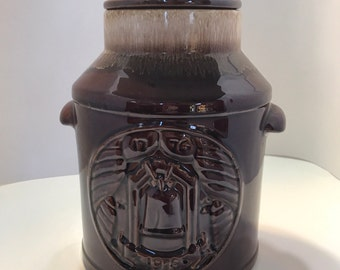 Vintage Cookie Jar - McCoy Milk Can Bicentennial  cookie jar -1776-1976 Brown Drip Stoneware
