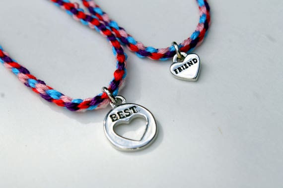 Woven Friendship Bracelets With Heart Charms Set Of 2 Choose