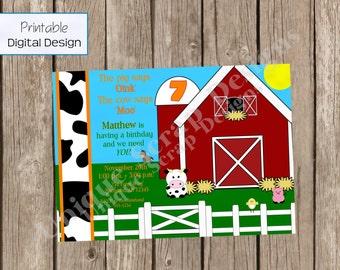 Cow Says Moo Barnyard Birthday Party Invitation Style DI1601 DIGITAL FILE - Printable - by Unique Scrap Designs
