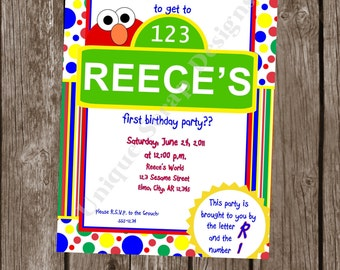 ELMO Inspired Birthday Party Invitation Style DI2116 DIGITAL File - Printable - by Unique Scrap Designs
