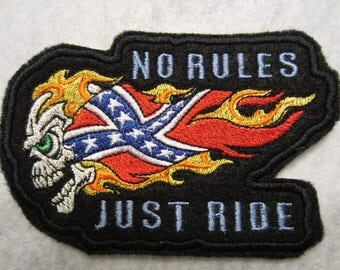 Embroidered Motorcycle Iron On Patch, No Rules Just Ride Patch, Motorcycle Patch, Skull Patch, Flag Patch, Skull And Flag Patch