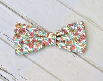 Mint Coral Floral, Mens Bow Tie, Summer Bow Tie, Spring Bow Tie, Bow Tie for Wedding, Groomsmen and Groom Bow Tie, Mens & Kid Bow Tie