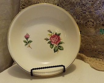 Vintage Paden City Pottery Salad Bowl/Plate--Old Rose Pattern