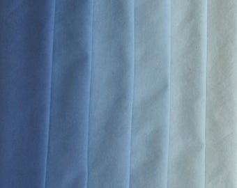 941, 942 - Hand Dyed Blue gradation of half yards