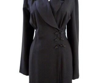Vintage 80s Does 30s Black Deco Style Dress with Faux Curly Lamb Collar - Long Sleeve Black Maxi Dress - Black Coat Dress - Size 10 Medium