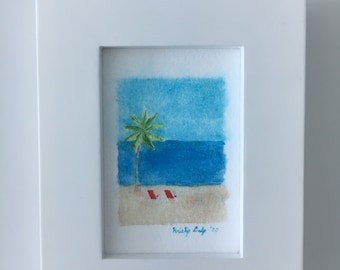 "Beach Chairs Watercolor - Giclee Print with Frame - 4"" x 5"""