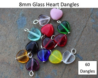 60 Sixty 8mm glass heart dangles- birthstone colors & more-  silver, gold, gunmetal, antiqued brass, copper, or antiqued silver plated loops
