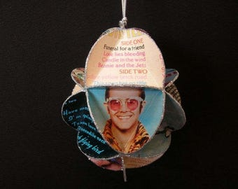 Elton John Album Cover Ornament Made Of Repurposed Record Jackets