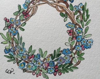 Spring Wreath Watercolor Card / Hand Painted Watercolor Card