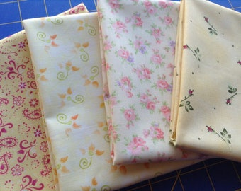 Yellow Fat Quarter Bundle, 4 Different Fabrics, 4 FQ Bundle, Yellow Floral Print 100% Cotton Fabrics Sewing Quilting Material, Sewing Supply