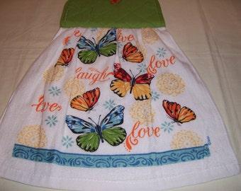 Oven Door Hanging Towel -Butterflies- Kitchen Towel,Potholder-Ready To Ship