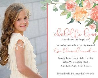 Peach Floral LDS Baptism Invitation - Digital 5x7 File