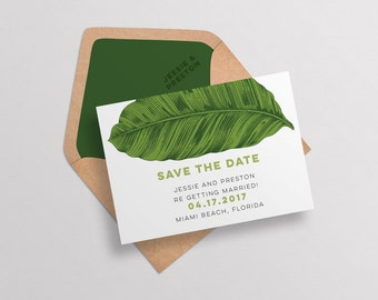 Modern Tropical Save the Date Printable Template,Modern Destination Wedding Invitation Set Download,Tropical Destination Save the Date,Beach
