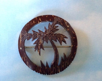 Vintage Coconut Shell Palm Tree Blowing in a Hawaiaan Breeze Pin Brooch Original Vintage Hand Carved Circle Brooch