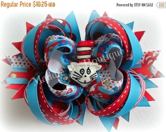 CLOSING SALE Dr. Seuss-Cat in the Hat Red Turquoise Polka Dot OTT Stacked hair bow made by Maddie B's Boutique on Etsy