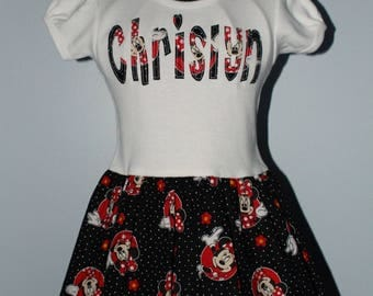 Minnie T-Shirt Dress- Minnie Mouse, Short sleeve Tee, Birthday Dress, Personalized Dress, Toddler, Number Applique, Name Applique, Party