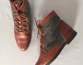 forest green and chestnut leather boots | lace up ankle boots | 9