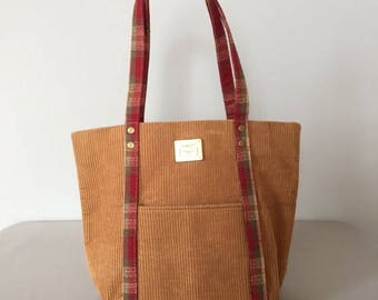 25% OFF SALE ... cafe au laut corduroy bag | small top handle tote