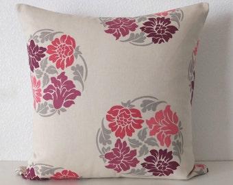Flordallion Sangria Plum Pink Pillow Cover
