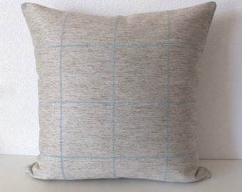 Ethan Allen Spencer Seaglass Natural Blue Large Striped Checker Pillow Cover