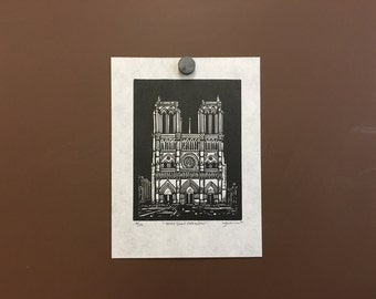 Orignal Linocut Print of Notre Dame Cathedral in Paris, France