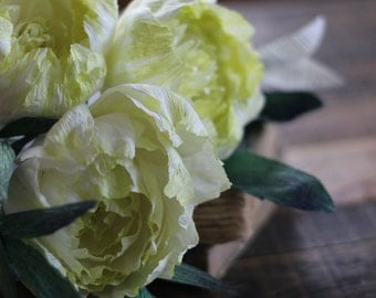 Paper Peony Bundle - Ivory/Chartreuse Crepe Paper Flowers with Book Paper Accent