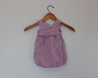 Vintage red and blue gingham Romper 12 Months