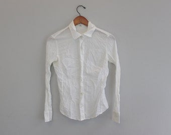 Vintage White Button Down Blouse by Banana Republic