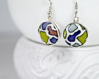 Textile Drop Earrings, Round Dangle Earrings, Women Textile Earrings, Sterling Silver