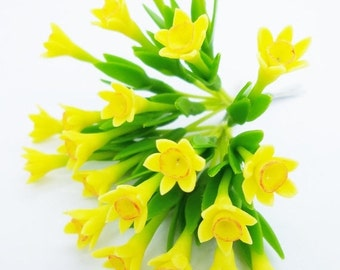 Miniature Polymer Clay Flowers Daffodil with Leaves, dollhouse scale, 12 stems
