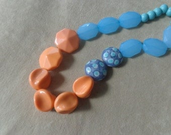 Salmon pink blue long necklace, polka dot necklace, long blue necklace, romantic necklace