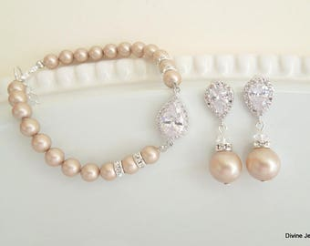 Bridal Jewelry Set, Pearl Bridal Earrings, Wedding Bracelet, Swarovski Pearl Earrings, Swarovski Pearl Bridal Jewelry, Jewelry set, AUDREY
