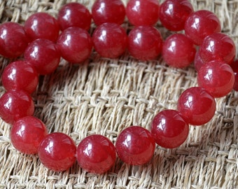 14mm  dyed red round jade stone beads,jade nugget stone beads loose strands