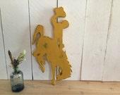 Cowboy Sign - Bucking Horse Decor - Wyoming Pride Sign - Rustic Wood Sign - Wyoming Art - Cowboy Decor - Rodeo Sign
