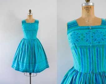 1950s Forgotten Atlantis aquatic cotton dress / 50s cotton beauty