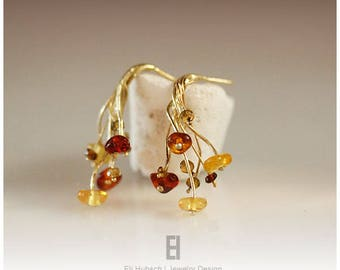 Summer Bouquet  earrings, amber and tourmalines and 18K gold hand forged & designed