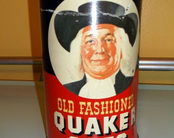 """Tin Vintage 1982 Old Fashioned Quaker Oats Tin Metal Canister 7 1/2"""" tall"""