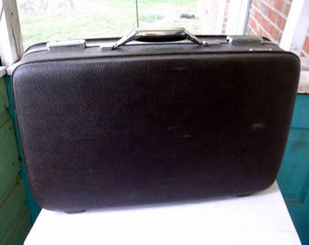 Vintage Charcoal Gray American Tourister Medium Sized Suitcase Luggage