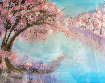 """Acrylic Painting on Watercolor Paper 9 x 12, framed 11"""" x14"""",Cherry BlossomTrees Along River"""