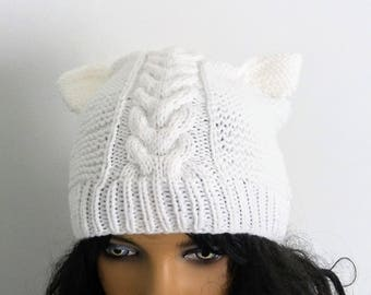 White Pussy Hat, Pussyhat Movement,White cat ears hat ,Pussy Cat Hat, White Cat Hat, Cat Ear Hat,White pussyhat,White Cat hat,Pussy hat
