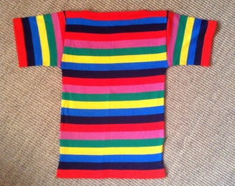 1970s French colorblock stripes shortsleeves sweater Sz S