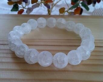 """Handmade Matte Crackle Quartz Crystal Bracelet, Natural Gemstone Stretch Bracelet, Meditation, Happiness Healing Balance Crystal 7"""" Bracelet"""