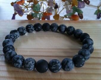 """Handmade Genuine Matte Snowflake Obsidian Bracelet, Natural Black Obsidian Gemstone Protection Stretch Bracelet, Cleansing,  7.25"""" Bracelet"""
