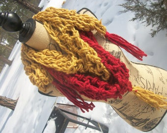 Gold & Red Shortsie Shawl