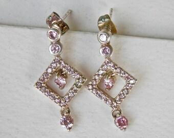Geometric Silver Earrings Pink Rhinestones Pink Stones Sterling Silver Bridal Earrings Wedding Jewelry 925 Petite Drop Earrings