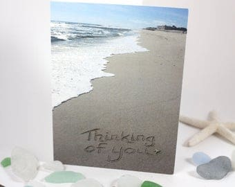 Thinking of You Beach Writing, Get Well, Sand Writing, Card, Ocean, Beach, Photo Card,