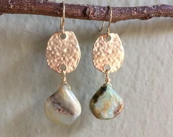 Green Agate Stone earrings green earrings semiprecious stone earrings OOAK drop earrings dangle earrings gold earrings
