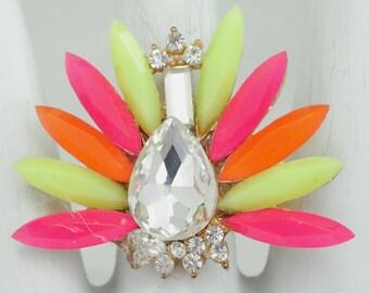 Neon Statement Ring/Pink/Green/Orange/Rhinestone/Spring/Summer Jewelry/Gift For Her/Adjustable/Under 15 USD