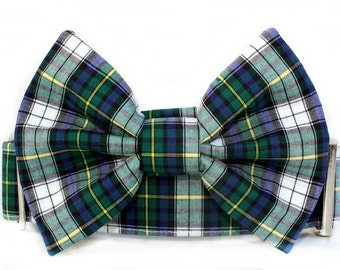 Blue and Green Plaid Bow Tie Dog Collar with Nickel Plate Hardware - Extra Wide Dog Collar - 1.5 Inch Width